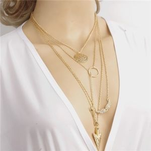 Jewelry - Circle Arrow Wing Gold Multilayer Choker Necklace